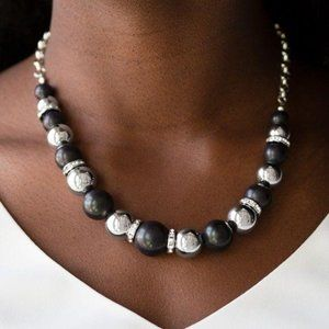 The Ruling Class Black Silver Necklace Earring Set